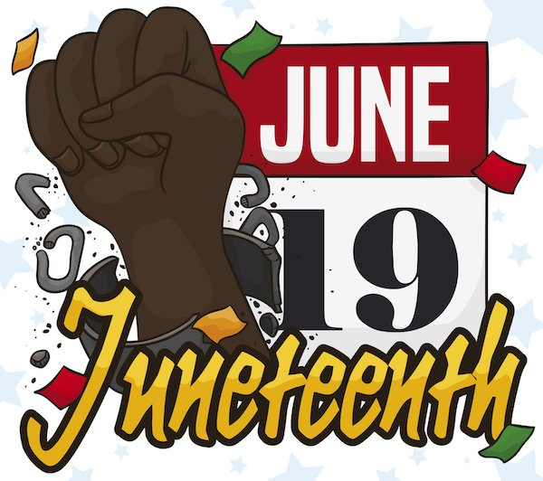 Calendar and Fist Breaking Chains Reminding at you Juneteenth Date