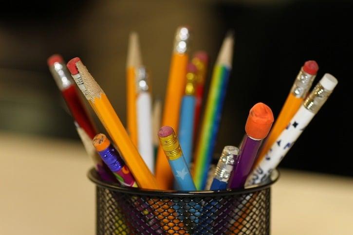 pencils in pencil holder