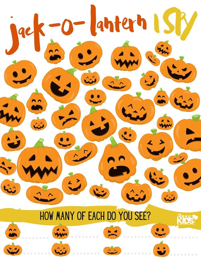 Jack-O-Lantern Halloween I Spy Game Printable