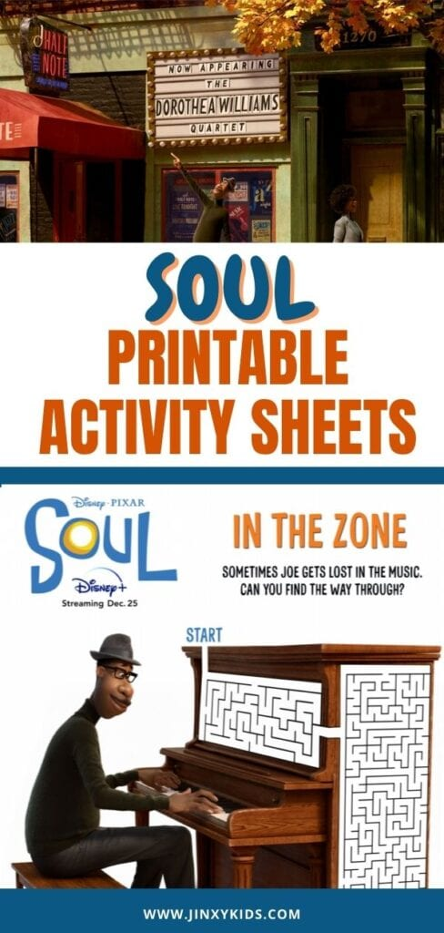 DISNEY SOUL PRINTABLE ACTIVITY SHEETS