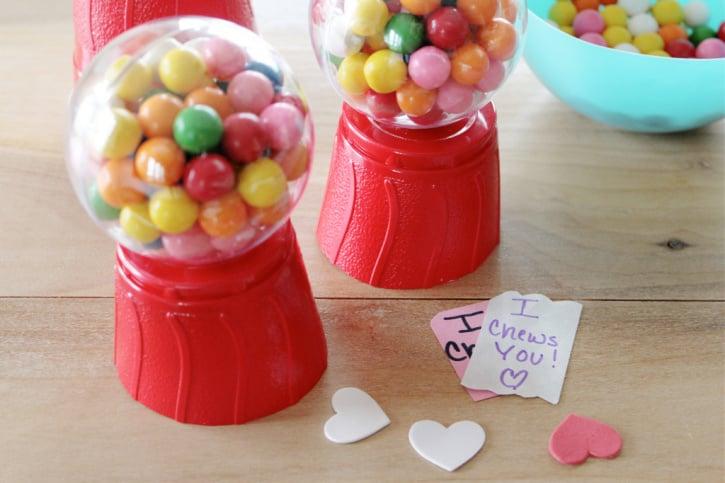 Valentines Day Mini Gum Ball Machines process