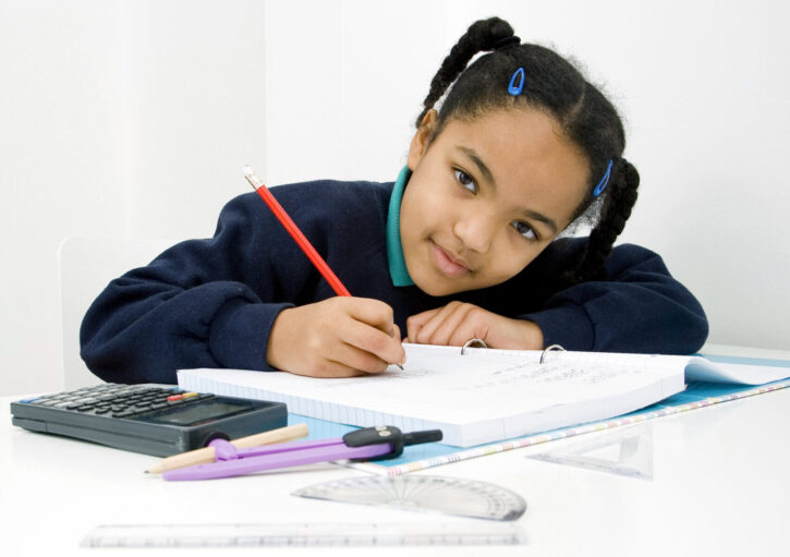 girl studying math fractions
