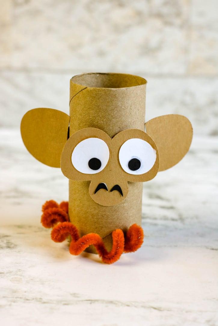 Monkey Cardboard Tube Craft process