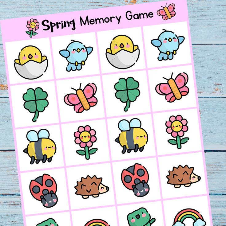 Printable Spring Memory Game