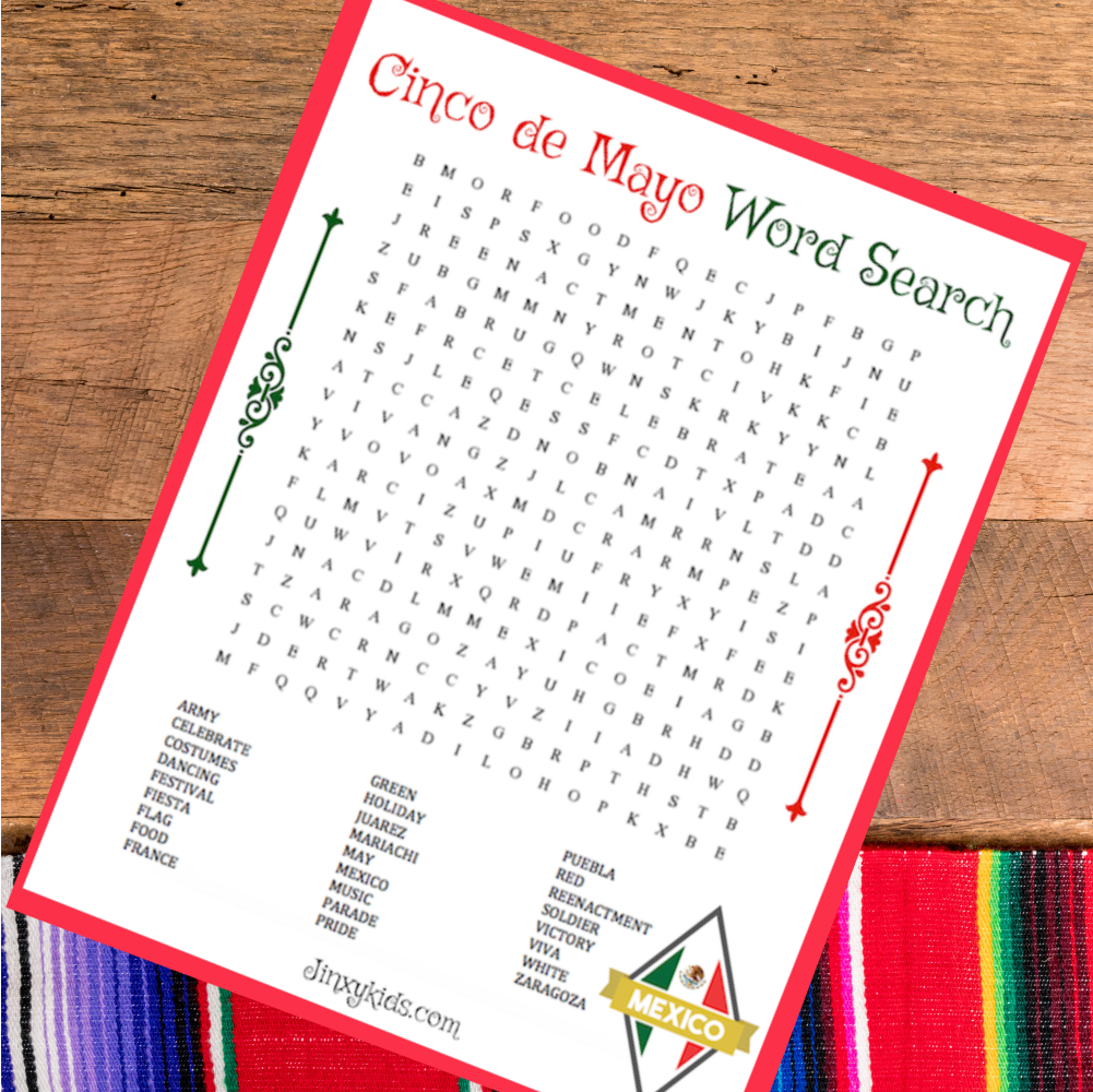 FREE PRINTABLE CINCO DE MAYO WORD SEARCH Puzzle