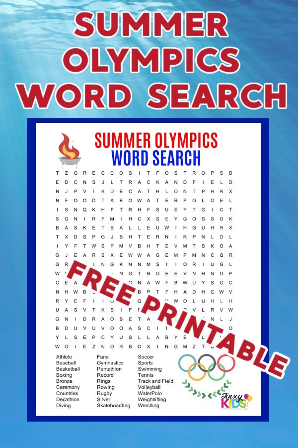 FREE PRINTABLE SUMMER OLYMPICS WORD SEARCH