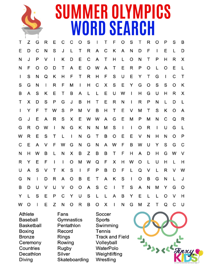 SUMMER OLYMPICS WORD SEARCH PUZZLE